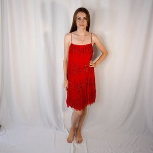 FREE PEOPLE Red Strappy Sequin Fringe Mini Dress